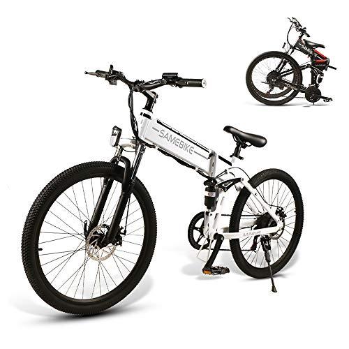 SAMEBIKE Biciclette elettriche da 26 Pollici con Pneumatico Pieghevole Biciclette elettriche da Montagna 48V 500W per Adulti (Bianco)