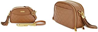 Joy & Iman, Diamond Quilted Genuine Leather Crossbody Bag with RFID, Cognac