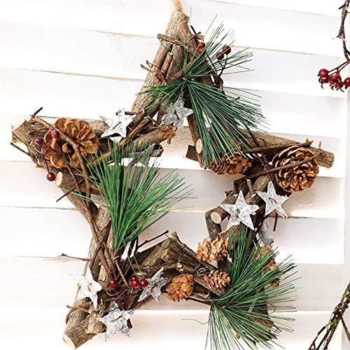XGXQBS Kerstkrans rotan slinger, natuurlijke kleur rieten rotan wijnstok sterren/ronde krans voor voordeur muur venster kerstdecoratie