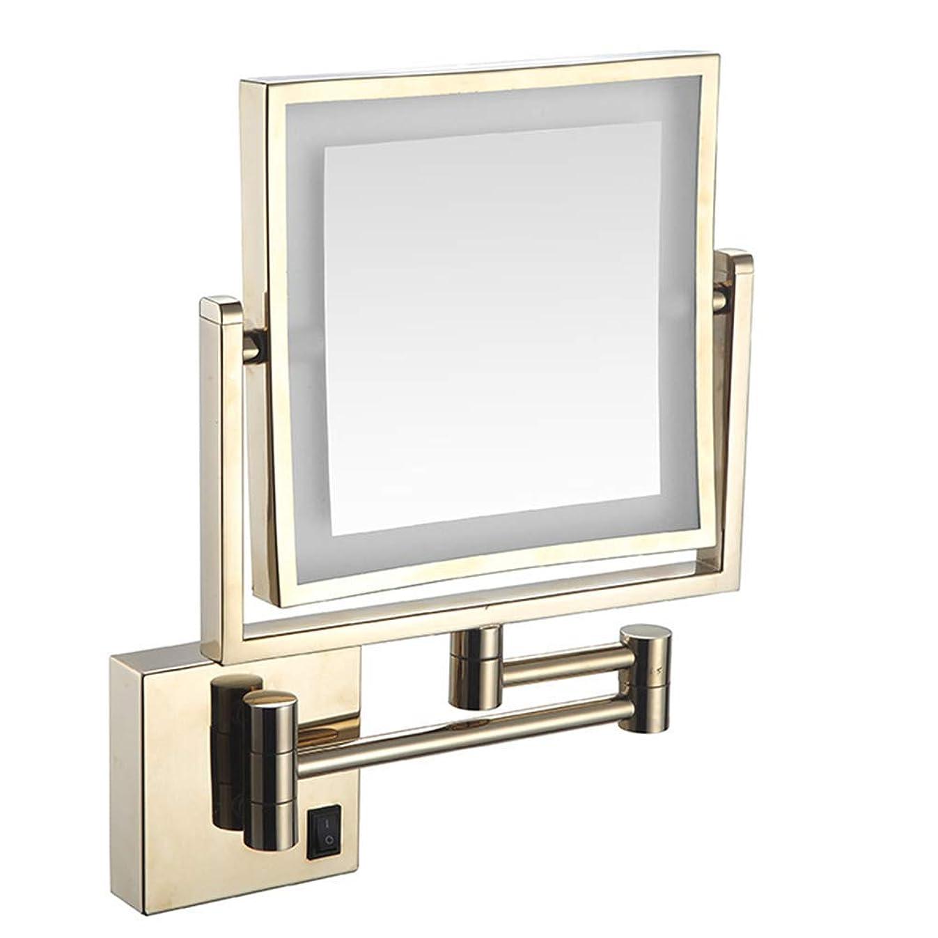 うっかり仕方モナリザ化粧バニティミラー両面LED 3倍拡大360度回転折りたたみミラーホテルの浴室の壁ミラー充電