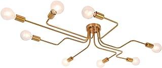 Lingkai Lámpara colgante de comedor de metal Lámparas de araña de acero moderno Lámpara Iluminación de techo con luz E27 Bulbo pintado en oro [Clase de eficiencia energética A++]