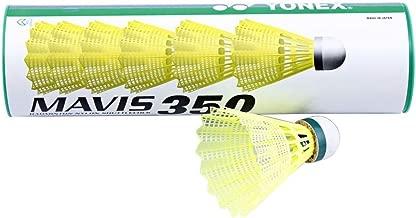 Yonex Mavis 350 Green Cap Nylon Shuttlecock, Yellow, 6 counts