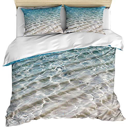 Funda nórdica para ropa de cama de lujo, funda nórdica y fundas de almohada con funda nórdica tropical Beach Ocean Water, juego de sábanas de 3 piezas, funda nórdica suave / acogedora de algodón azul