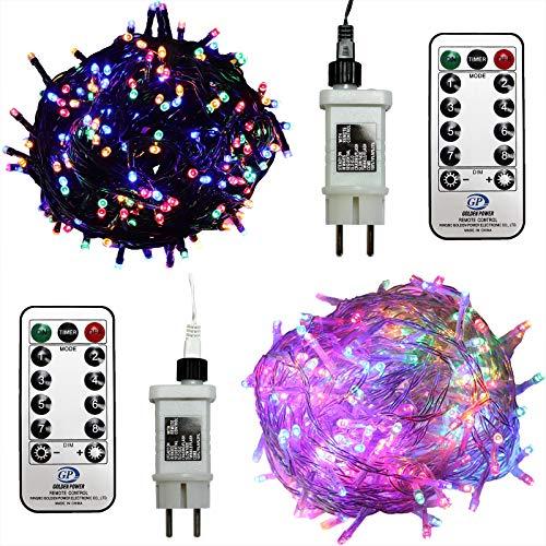 240 LED Lichterkette bunt außen Kabel grün mit Timer Fernbedienung Progamme Dimmen