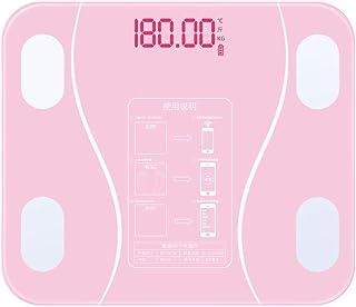 HJTLK Báscula de baño Digital, Báscula de baño Báscula de baño compacta, Báscula de pesaje Inteligente con Cuerpo de Pesas, 180 kg / 400 LB, Rosa