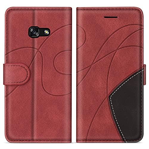 SUMIXON Hülle für Galaxy A3 2017, PU Leder Brieftasche Schutzhülle für Samsung Galaxy A3 2017, Kratzfestes Handyhülle mit Kartenfächern & Standfunktion, Rot