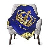 GAJAJAYZXN Royal Blue Gold Prince Crown Baby Blanket Super Soft 30 X 40 Inch, Receiving Blankets
