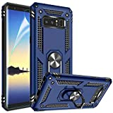 Galaxy Note 8 Case with HD Screen Protector, Gritup 360 Degree Rotating Metal Ring Holder Kickstand Armor Bracket Cover Phone Case for Samsung Galaxy Note 8 Blue