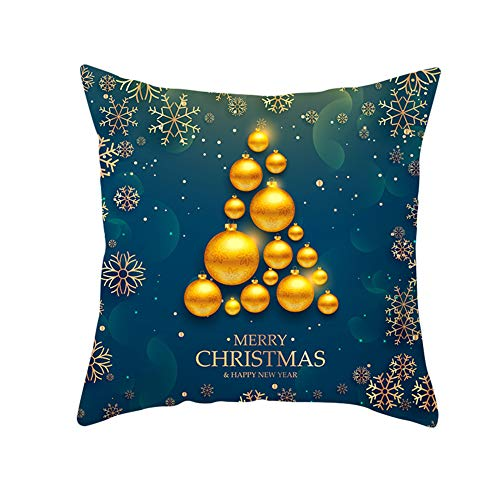 Z&HA Merry Christmas Pillow Cushion Cover,Christmas Bells And Snowflakes Cotton Linen Cushion Covers Home Decorative Xmas Throw Pillowcases 18X18inch,5