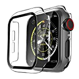 TAURI 2 Pack Funda Apple Watch 44mm Serie 6/SE/5/4 con Protector de Pantalla Cristal Templado HD...