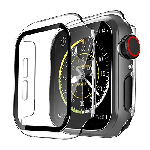 TAURI 2 Pack Funda Apple Watch 44mm Serie 6/SE/5/4 con Protector de Pantalla Cristal Templado HD Protección Completa Carcasa para iWatch Slim Cover de Bumper y Anti-Rasguños - Transparente