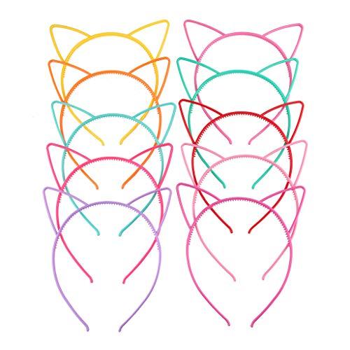 niumanery Children Girls Cute Cartoon Pointed Cat Ears Headband Sweet Candy Color Hollow Out Plastic Hair Hoop Anti-Skid Teeth Princess Party Headwear