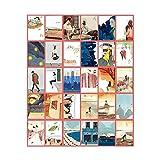 Juego de 30 postales de papel para coleccionar, diseño retro, color blanco