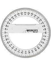 Westcott E-10135 00 hoekmes massief cirkelvormig kunststof, 10 cm, transparant