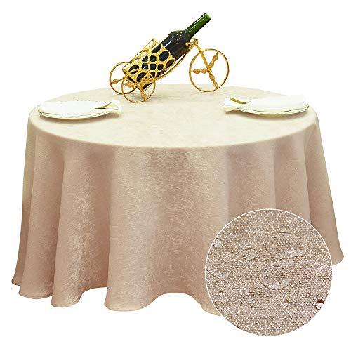 BALCONY & FALCON Tovaglia Tonda Antimacchia 180cm Tovaglie Rotonda Impermeabile Elegante per la Decorazione di Matrimonio/Compleanno/Battesimo del Bambino/Eventi
