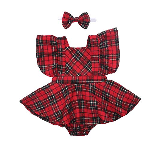 Newborn Baby Girl Christmas Romper Dress Ruffle Short Sleeve Cotton Bodysuit Red Plaid Outfits (Red, 18-24 Months)