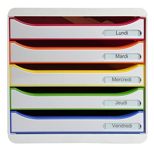 Exacompta - Réf. 309913D - BIG BOX PLUS - Caisson 5 tiroirs pour document A4+ - Dimensions extérieures : Profondeur 34,7 x largeur 27,8 x Hauteur 27,1cm- Blanc/Arlequin/blanc