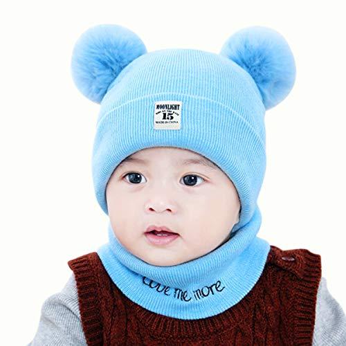 Yunnyp Gorro de Lana para bebé + Babero niño pequeño niño niña bebé bebé Invierno Crochet Gorro de Punto Gorro Conjunto Bufanda