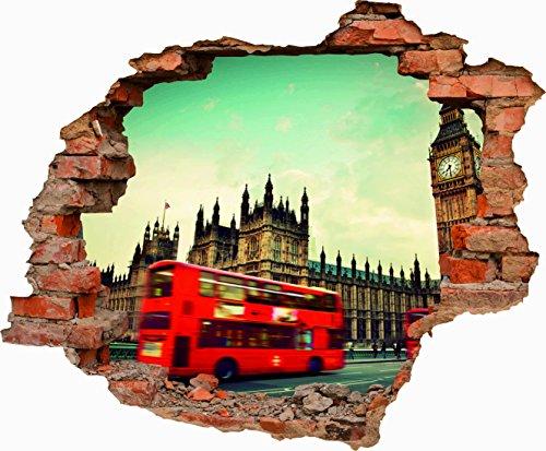 Oedim Vinilo Decorativo Pared 3D Big Ben Londres 70cm x 57,81cm | Adhesivo Resistente y de Fácil Aplicación | Multicolor | Pegatina Adhesiva Decorativa de Diseño Elegante