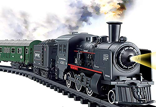 Haktoys Railway King Classical Passenger Train Set Battery Operated Ready to Play Simulation Steam Locomotive Playset with Smoke, Lights and Authentic Train Sound