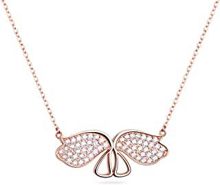 925 Sterling Silver Necklace Angel Wings Pendant Necklace...
