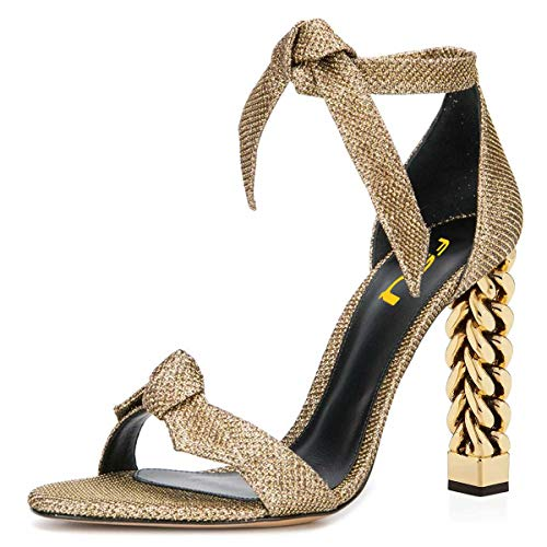FSJ Women Wedding Gold Metal Chain Chunky High Heels Ankle Strap Sandals Open Toe Fashion Shoes Size 4 Gold Bows