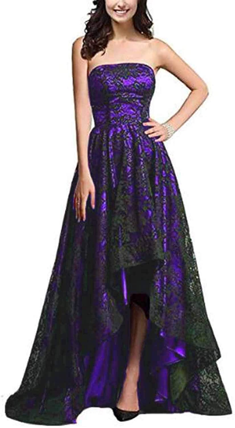 Alilith.Z Sexy Strapless High Low Prom Dresses Black Lace Long Formal Evening Dresses Party Gowns for Women