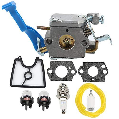 Powtol 545081811 125B Carburetor + 545112101 Air Filter Tune Up Kit fits HUS 125BX 125BVX 28CC 170 MPH Leaf Blower Replace 590460102 C1Q-W37