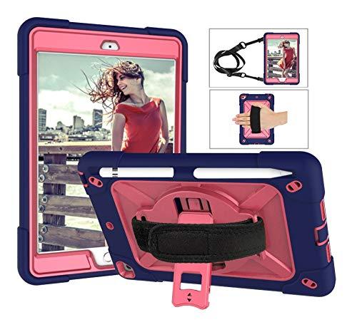 SZCINSEN Robot de contraste de color 3 en uno anticaídas, adecuado para iPad mini1/2/3 funda de tableta, soporte giratorio de mango multifunción [correa para el hombro] (color: azul marino y rojo