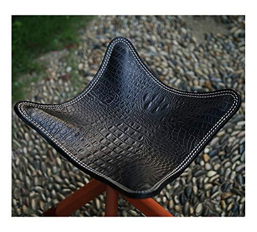 Piel clásica con sillas plegables de madera. Funda hecha a mano de piel auténtica.