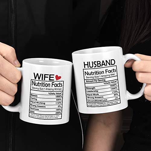 Husband and Wife Nutrition Facts Mugs Couple Coffee Mugs Husband and Wife Gifts His and Her Coffee Mugs Set Gifts Novelty Couple Valentine's Day Anniversary Wedding Gifts for Couple Husband Wife 11Oz