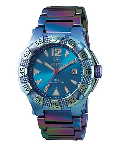 Gamma 2 Men's Swiss Date, Ionized-Plated Stainless case and Bracelet, Bright Blue dial