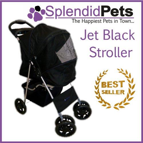 Splendid Pets Ltd Black 4 Wheel Easy Fold Dog Stroller/Foldable Pet...