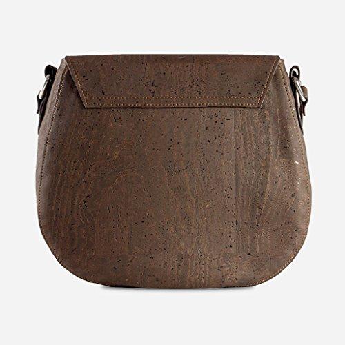 Corkor Veganer Schultertasche Böhmischen Umhängetasche Damen Geldbeutel Handtasche Natur-Leder Natur - Saddle Bag - Beuteltasche aus Veganem Leder Braun - 5