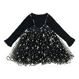 Vestido Bebé Niña Mangas Largas Encaje Malla con Estampado de Estrellas Vestidos para Niñas Trajes de Ropa Bebe Recien Nacido Niña (Negro, 2-3 años)