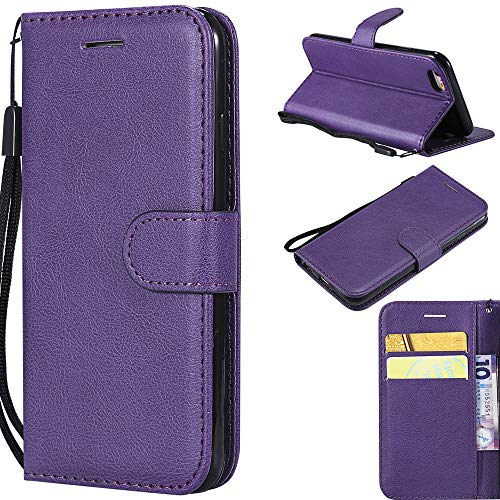 Ooboom Huawei Honor 6C Hülle Magnetische Flip Folio PU Leder Schutzhülle Tasche Buchstil Hülle Cover Ständer mit Kartenfächer Trageschlaufe für Huawei Honor 6C - Lila