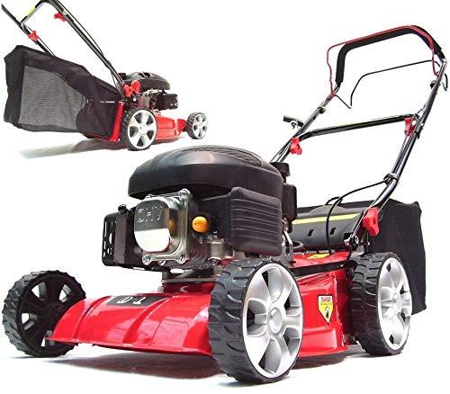 Benzin Rasenmäher 410mm Radantrieb 55793 Antrieb 41 cm Motor Mäher Selbstantrieb, inkl. Markengetriebe AWZ Big-Wheeler-Räder Stahlblechgehäuse, Radantrieb