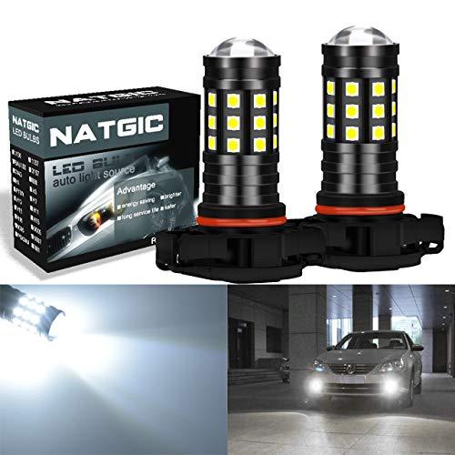 NATGIC H16 5202 Ampoule LED Blanc Xenon 2700LM 6500K 3030 27SMD avec Projecteur d'Objectif pour Ampoules antibrouillards DRL Feux de Jour 12V-24V (Paquet de 2)