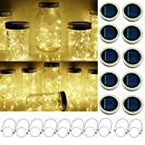 Solar Mason Jar String Light Lids, 10 Pack 20 LED Fairy Firefly String Light Inserts with 10 Hangers Starry Lighting for Patio Lawn Garden Wedding (Warm White)