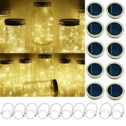 Solar Mason Jar String Light Lids, 10 Pack 20 LED Fairy Firefly String Light Inserts with 10 Hangers Starry Lighting for Patio Lawn Garden Wedding (Warm White)