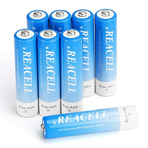 REACELL AAA Akku 1100mAh NI-MH 1,2V Akkubatterien geringe Selbstentladung mit Aufbewahrungsbox,8 Stück