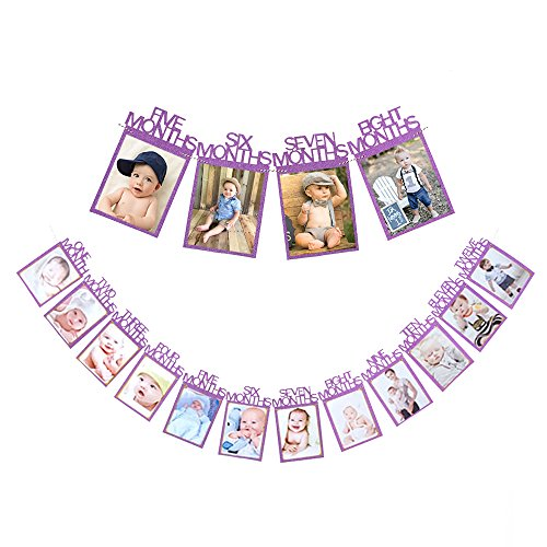 Qibote 1st Birthday Baby Photo Banner Baby 1-12 Month Photo Bunting Garland Prop Party Bunting Decoration
