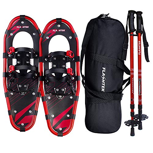 FLASHTEK 25 Inches Snowshoes for Men and Women, Light Weight Aluminum Terrain Snowshoes (Red)