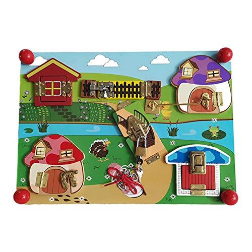 Juguete Montessori de Madera Cerradura de Juguete Tablero de pestillos Educativo Temprano para Niños