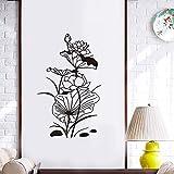 Pegatinas de pared de loto de hoja de loto de estilo chino, decoración de puerta de fondo de sala de estar, calcomanías de arte mural, pegatinas de flores de PVC talladas -64.5x105cm