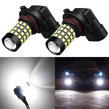 Alla Lighting 2000Lm 9006 LED Fog Lights Bulbs 2835 51-SMD Super Bright HB4 9006 LED Bulbs 12V Fog Light Replacement for Cars Trucks 6000K Xenon White