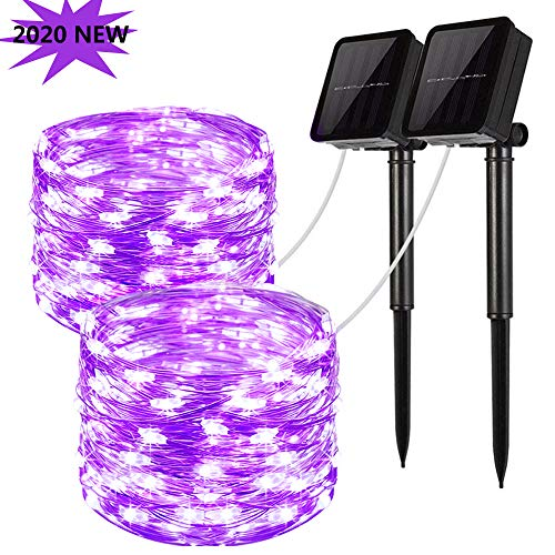 LiyuanQ Solar String Lights, 2 Pack 100 LED Solar Fairy Lights 33 feet 8 Modes Silver Wire Lights Waterproof Outdoor String Lights for Garden Patio Gate Yard Party Wedding Indoor Bedroom Purple