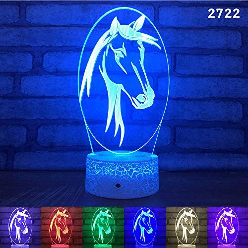 BFMBCHDJ 3d led pferd lampe 7 farbwechsel schreibtisch tisch nachtlicht usb fernbedienung dekoration bluetooth lautsprecher lampe für kinder geschenk