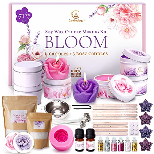 Soy Candle Making Kit - All-Inclusive Soy Wax Candle Maker Kit - DIY Candle Making Supplies for Beginners Scented Candles Gift Set with Wicks, Tins, Dye, Mold