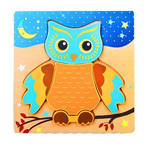 Black Temptation Owl Cartoon Creative Puzzles en Bois Beau Puzzles Bébés Enfants Jouets